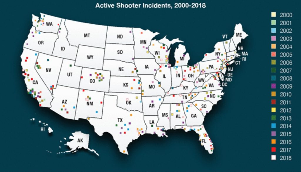 active shooter incidents map