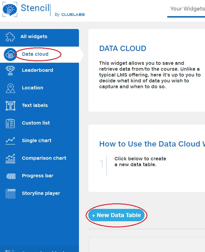 step 1 data cloud new table